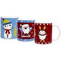 Navidad taza, cerámica de gres - Paquete de 3
