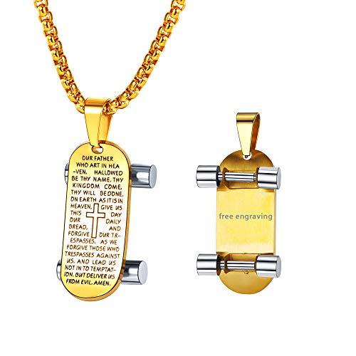 FaithHeart 18K Gold Halskette für Männer Dog Tag mit Skateboard Vergoldet Anhänger Schmuck Geschenk,mit Wunsche Gravur