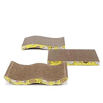 OHANA Griffoir en Carton pour Chat 3 pièces résistant 41 * 23 * 4cm