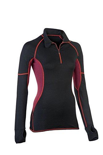 Engel-Sports Damen Lauf-Shirt - mit Reißverschluss black/tango red S