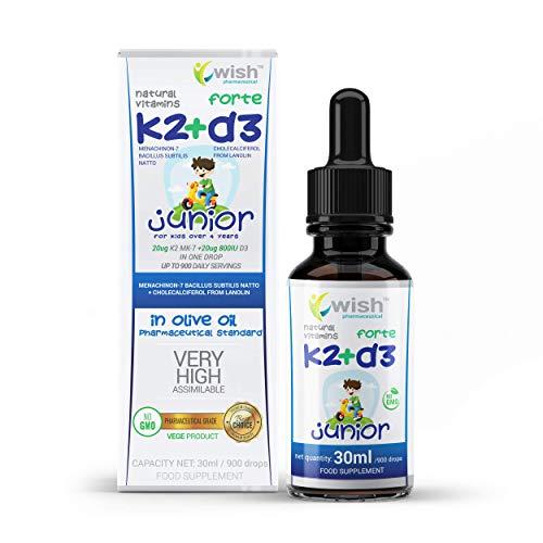 K2 + D3 Vitamin / K2 MK-7 20µg + D3 800 I.E. / FORTE JUNIOR Tropfen 30 ml KINDER in Pharmazeutisches Olivenöl/VEGAN/NO GMO/Natürliches/HIT 2019