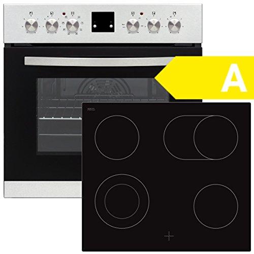 SCHOEPF EHS Multi 8F Edelstahl Einbauherd Set / EEK: A / Glaskeramik-Kochfeld mit 2Kreis-Kochzone und Bräterfunktion / Digitalanzeige / 8 Programme