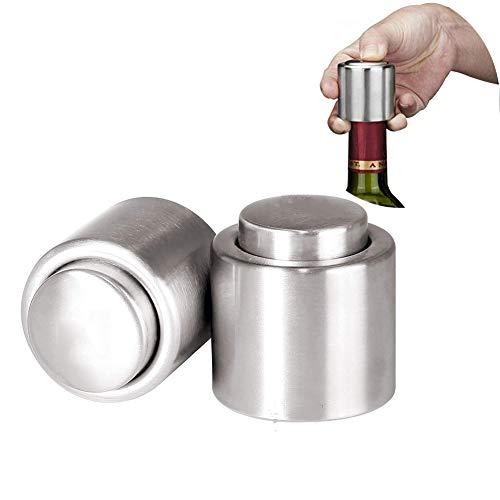 Dosige 2 STK Sektverschluss Weinverschluss Vakuum Weinpumpe Edelstahl Wein Stopfen Silber