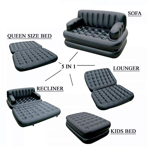 Bittu Fashion's 5 in 1 Inflatable Sofa Cum Bed Airbed Couch Air Lounge and Electric Pump, 188x64x152cm (Multicolour)