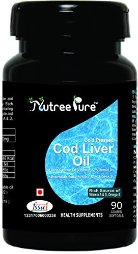 Nutree Pure Cod Liver Oil 300mg ( Rich Source of Omega-3, Vitamin-A & D ) - 90 Soft gel capsules  available at amazon for Rs.560