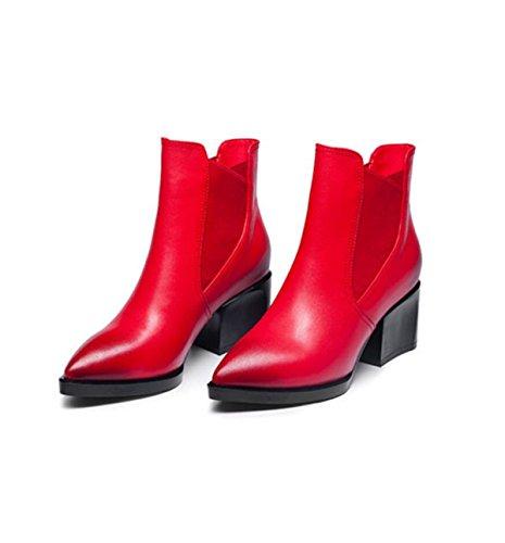 GRRONG Scarpe In Pelle Autunno E Invernale Scarpe Rosse Nere Rosse Per Il Tempo Libero Scarpe Corte Red
