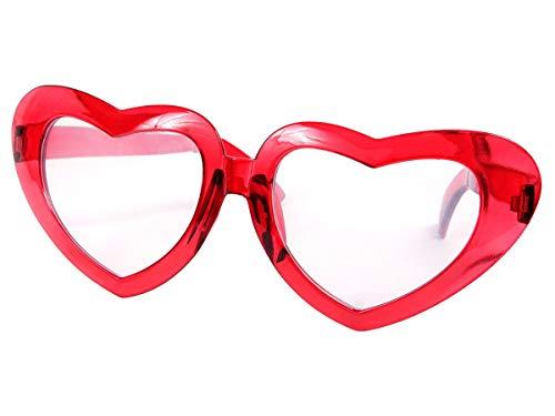 XXL super große Glitzer Herzen-Funbrille Spaßbrille 24, Farbe wählen:rot
