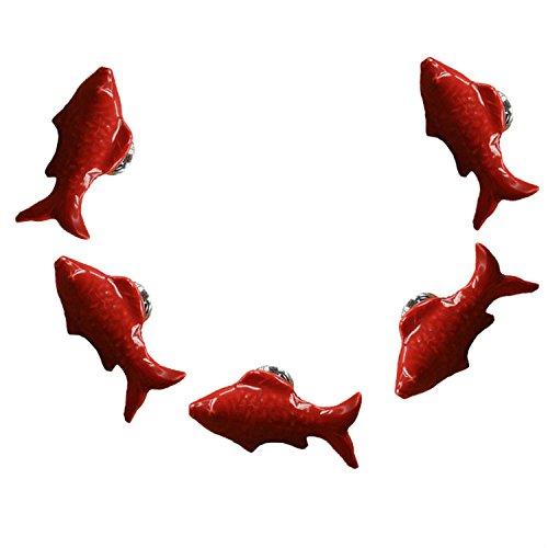FBSHOP(TM) 5PCS Rot Nette Fisch Form Keramik Türknauf Griff Pull Baby-Kind-Möbel Schubladengriffe Schrank Schubladengriffe Türgriffe MöbelKnopf mit Schrauben