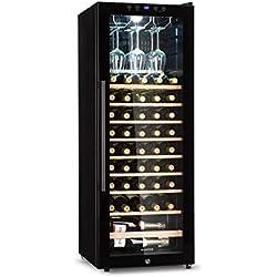 Klarstein Barossa 54S Réfrigérateur à vin avec porte vitrée - refroidisseur à vin, armoire à vin, 148L, 54 bouteilles, 5 à 18°C, écran LCD, éclairage intérieur LED, commande tactile, noir