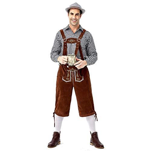 Bein Traditionellen Fit-jeans (Setsail Deutsches traditionelles Bierfestival, das Kariertes Hemd kleidet, stickt Hosenträger-Anzug Freizeit Sets)