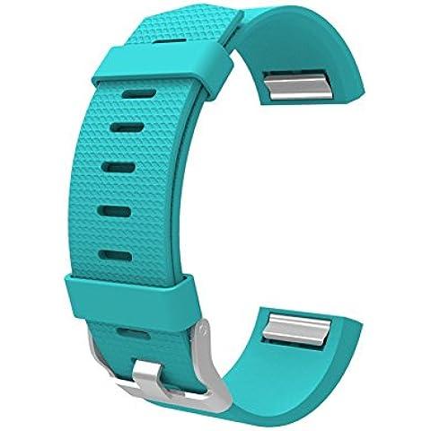 Wearlizer Cinturino di ricambio sportivo in silicone per Fitness Tracker Fitbit Charge 2 - Turchese