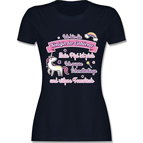 Statement Shirts - Königin der Einhörner - tailliertes Premium T-Shirt mit Rundhalsausschnitt für Damen Navy Blau
