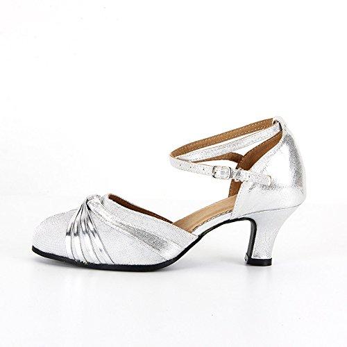 XPY&DGX Latino argento scarpe da ballo adulto ladies scarpe da ballo Square Chabamba scarpe da ballo nuova danza moderna soft estate, 5 255MM