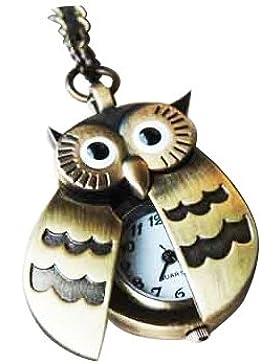 TOOGOO(R) Fliegende Fluegel Eule Anhaenger Uhrenkette Taschenuhr Halskette