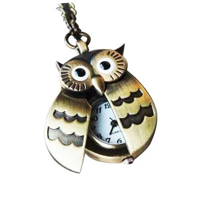 SODIAL(WZ.) Fliegende Fluegel Eule Anhaenger Uhrenkette Taschenuhr Halskette