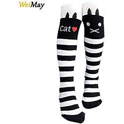 weimay Niños Chica joven de calcetines calcetines nette gato patrón antideslizante Blanco y Negro Rayas