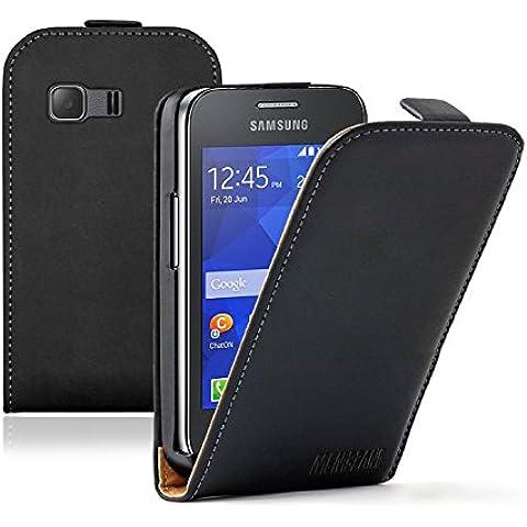 Membrane - Ultra Slim Negro Funda Carcasa para Samsung Galaxy Young 2 II (SM-G130) - Flip Case Cover + 2 protectores de