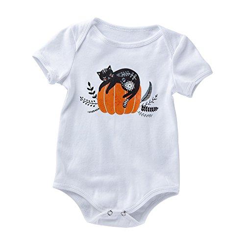 BaZhaHei Kinder Halloween Cosplay Kostüm Outfits Babybody mit Spruch für Jungen Mädchen Unisex Halloween Kürbis Kostüm Bodys (80, Weiß) (Weiches Und Bequemes Kürbis Kleinkind Kostüm)