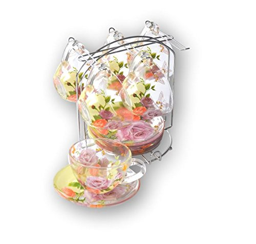 INTEROS Kaffeeservice/Teeservice auf Metallständer 12-tlg.Schmetterling