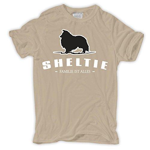 Männer und Herren T-Shirt Sheltie - Familie ist alles Größe S - 8XL Sand