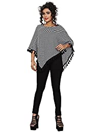 Chakudee Fashion black & white lining cape top Free size Ready to Wear Poncho Crop Tops for Women/Girls