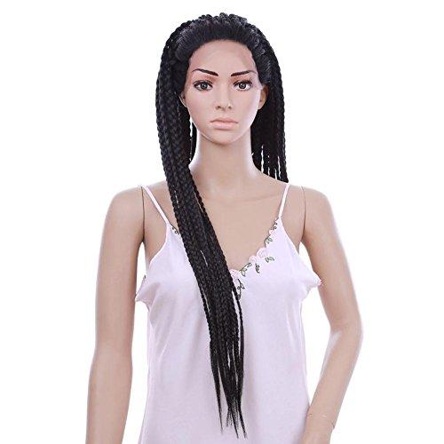 Dayyn 30inch nero parrucca treccia lungo africano intrecciato parrucche sintetico pizzo davanti parrucca per nero donne