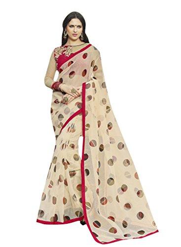 Shaily Cream Rajjo net printed saree