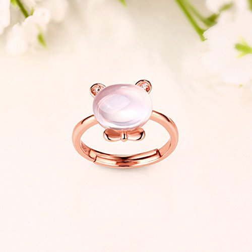 Erica 925 en argent sterling plaqué or 18 carats cristal rose / topaze anneau taille ajustable femmes de naissance 2