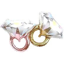Toyvian 2 Piezas Anillo de Diamantes Globos Forma de Anillo Globos de Aluminio Boda romántica Ducha