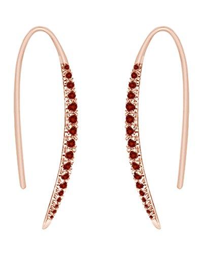 925Sterling Silber Runde Form simuliert rot Granat CZ Bar Hoop Ohrringe für Frauen und Mädchen (Ring, 18Karat Rose Gold über Sterling Silber) Rubin-ring Mit Rose Gold