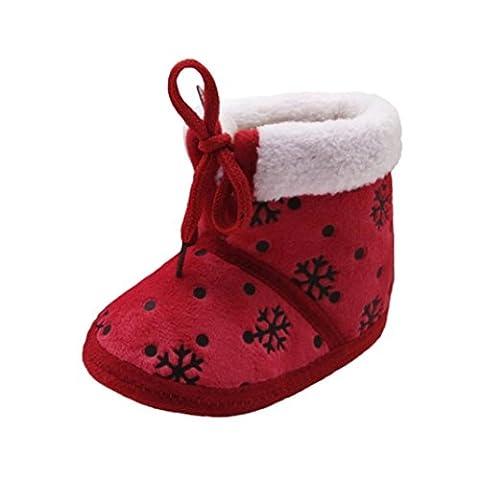 Babyschuhe Longra Kleinkind Baby Mädchen Jungen Weihnachts Schneestiefel Schnee-Druck Winterstiefel Unisex Baby Warm Krippe Schuhe Baumwolle Stiefel (0-18Monate) (13CM 12 ~ 18 Monate, Red)