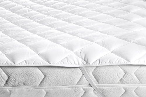 Zollner® Topper/Matratzenauflage / Matratzenschoner weiß, Größe ca. 140x200 cm, ca. 2 cm Gesamthöhe, in weiteren Größen erhältlich, vom Hotelwäschespezialisten, Serie Soft-Topper
