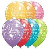 5 Latexballon Luftballon Welcome Home farbig weiß bedruckt ca. 28/ 30 cm (Ballongas geeignet) Lieferung erfolgt farbig sortiert