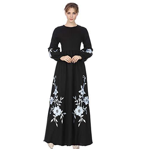 (QinMM M-Muslim Damen Chiffon Langarm Kleid Lang Stil - Elegant Stickerei Print Large Size Embroidery Robe Rayon Formale Modem Abendkleid Größe Abaya Dubai Islamischen Hochzeitskleid Top S-XXL)