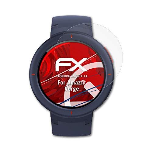 Protector de pantalla atFoliX Alta protección para la película protectora antichoque Amazfit Verge - Protector de pantalla absorbente de golpes anti-deslumbramiento 3 x FX-Shock-Antireflex