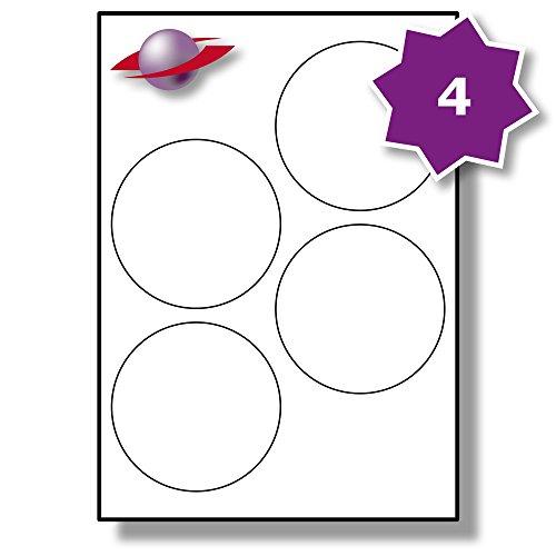 4 Pro Blatt, 25 Blätter, 100 Etiketten. Label Planet® A4 Runden Schlicht Weiß Matt Papier Etiketten Für Tintenstrahl und Laserdrucker 100mm Durchmesser, LP4/100 R.