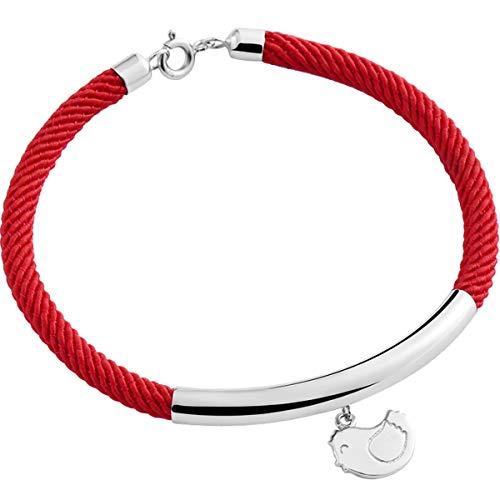 WFYJY-Huhn Geburtstag red Ribbon-Armband Silber handgewebten Band Mode-Paare persönliche Geschenke Hand-schmuck 16 cm