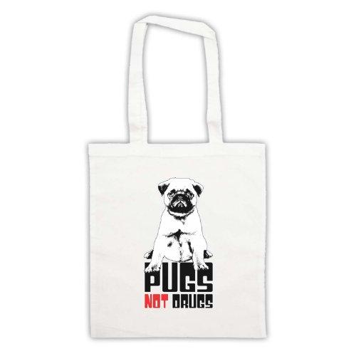 Pugs Not Drugs Slogan Tote Bag Bianco
