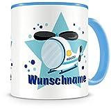 Samunshi® Kinder-Tasse mit Namen und einem Polizei Hubschrauber als Motiv Bild Kaffeetasse Teetasse Becher Kakaotasse Nr.7: blau H:95mm / D:82mm