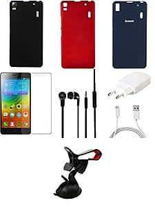 NIROSHA Tempered Glass Screen Guard Cover Case Charger Headphone Mobile Holder for Lenovo K3 Note - Combo
