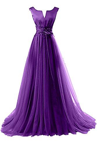 Gorgeous Bride Elegant Brautmutterkleider A-Linie Satin Tüll Spitze Schleppe Abendkleider Lang Festkleider Ballkleider Lila