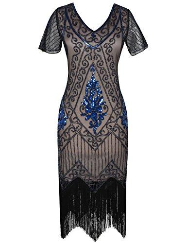 PrettyGuide Damen 1920er Charleston Kleid Pailetten Cocktail Flapper Kleid Mit Ärmel M blau beige