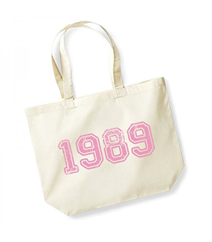 1989 - Large Canvas Fun Slogan Tote Bag Natural/Pink