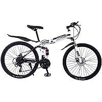 KASHYK 24 Pouces Pliable VTT Suspendu Haute Carbone Cadre en Acier Léger Mini Vélo Pliable Petit Vélo Portable VTT Vélo pour Homme Femme (Blanc)