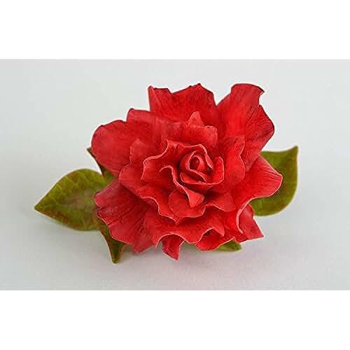 figuras kawaii porcelana fria Pinza para el pelo de porcelana fria artesanal clip con forma de rosa vistosa