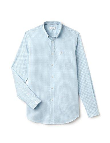 Lacoste Men's Men's Light Blue Gingham Shirt 100% Cotton Light Blue