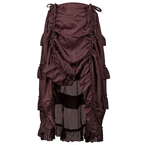 UFODB Steampunk Damen Kleid,Frauen Gothic Kleid Lang Rock Corsagenkleid Spitzen Kostüm Fighter Burning Western Karneval Fasching Cocktailkleid - Spitze Langer Rock Kostüm