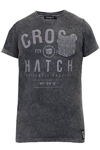 Herren T-shirt Crosshatch Neu Burnout Verblichen Acid Wash T-shirt Rundhals Freizeit Top Dunkelgrau