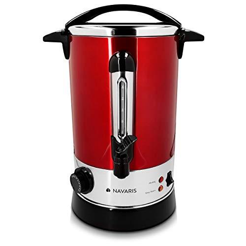 Navaris Glühweinkocher Heißwasserspender aus Edelstahl - 6,8 Liter - mit Thermostat Füllstandanzeige Zapfhahn - Glühwein Heißgetränkeautomat