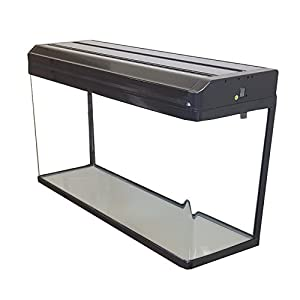 Aquarium Fish Tanks with LED Lighting & Hood Filtration (80cm / 120L, Black)